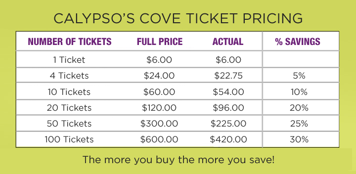 Calypso's Cove Ticket Pricing Chart