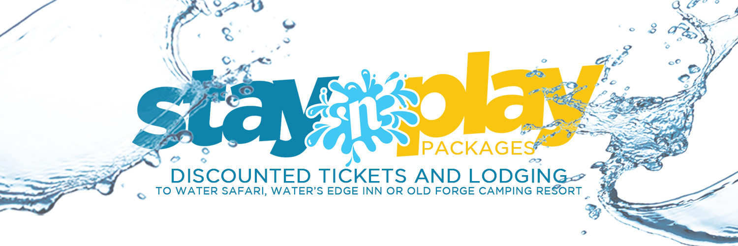 Stay 'n play banner. Splashes of water are surrounding the logo.