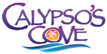 Calypso's Cove logo. Included in the logo is a blue wave and a palm tree. The text is all in purple.
