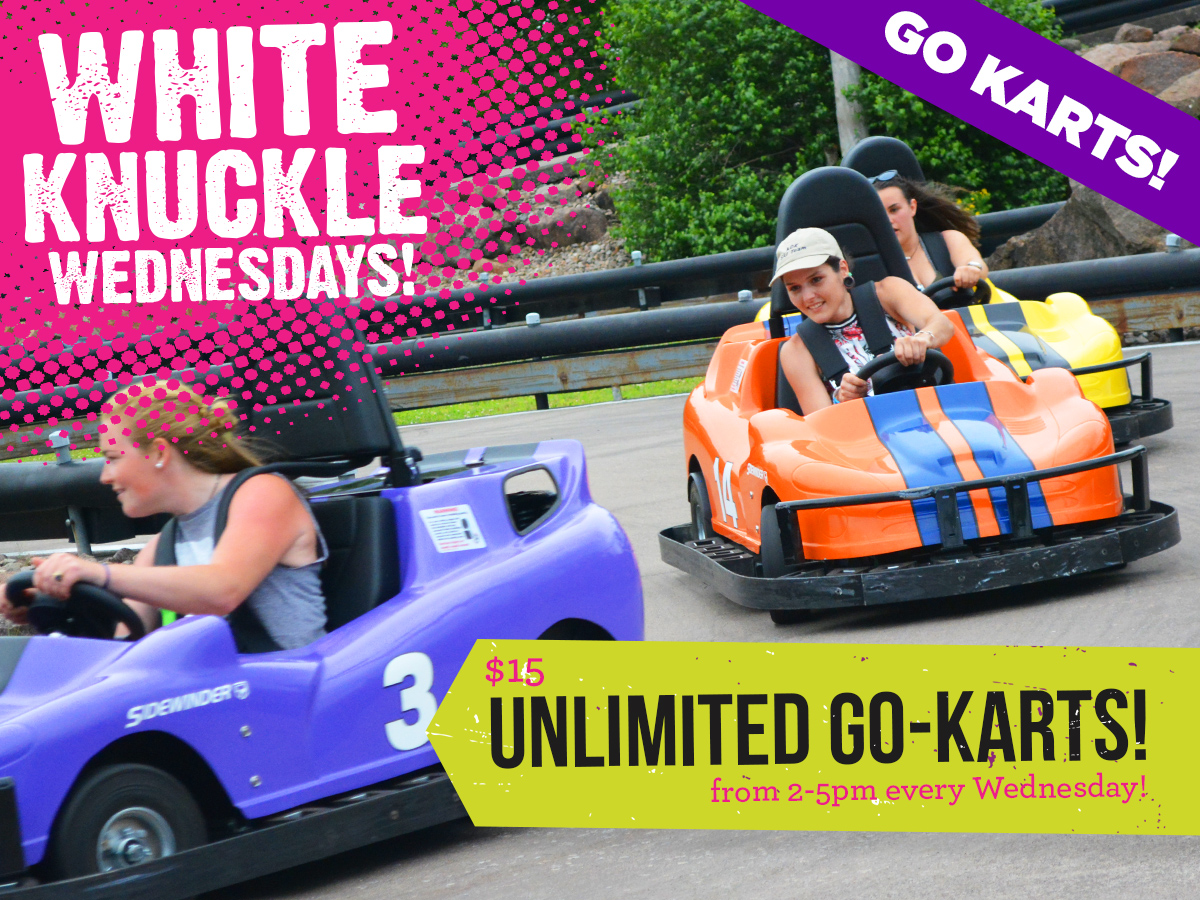 picture of people go karting and a bible that reads white knuckle Wednesdays a banner that says go karts and a tag that says $15 unlimited go-karts for 2 -5pm every Wednesday